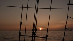 Sunset at sea from a tall ship in the Canary Islands. Stock Footage