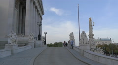 Admiring the view from the Austrian Parliament Building, Vienna Stock Footage