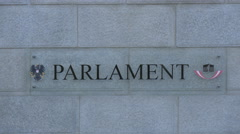Parlament sign on the facade of Austrian Parliament Building, Vienna Stock Footage