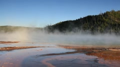 Steam over the Grand Prismatic Spring Stock Footage
