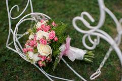 closeup shot of beautiful wedding bouquet - stock photo