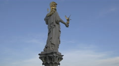 Statue of Athena at Austrian Parliament Building, on a sunny day in Vienna - stock footage