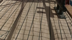 Shadows on the deck of a tall ship at sea in the Canary islands Stock Footage