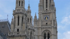The main clock tower at Town Hall, Vienna Stock Footage