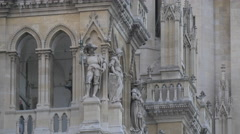 Sculptures and statues on the Town Hall, Vienna Stock Footage
