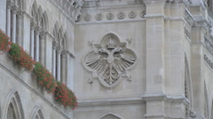 Coat of arms on the facade of Town Hall, Vienna Stock Footage