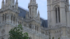 Gothic decorated facade of Town Hall, Vienna Stock Footage