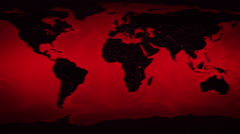 World map with German: Airports, Roads and Railroads. Red. Loopable. Stock Footage