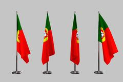Portugal indoor flags isolate on white background - stock illustration