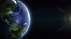 Rotating realistic Earth with cinematic look. Northern Hemisphere. Loopable. Stock Footage