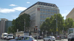 Driving cars near Aparthotel in Vienna Stock Footage