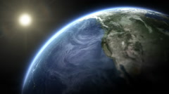 Rotating Realistic Earth with cinematic look. Close up. Loopable. Stock Footage