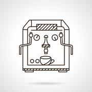 Classic coffee machine flat line style vector icon - stock illustration