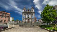 Church of Saint Ildefonso timelapse hyperlapse, covered with typical Portuguese Stock Footage