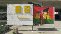 Artistic paintings near Donaukanal in Vienna - stock footage