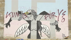 Artistic painting with wings in Vienna - stock footage