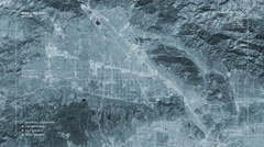 Aerial surveillance flyover of the Northwest Los Angeles metro area (monochromat Stock Footage