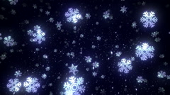Snowflakes falling over black background. 2 videos in one file. Loopable. Blue. Stock Footage