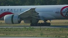Boeing 777 braking after landing Stock Footage