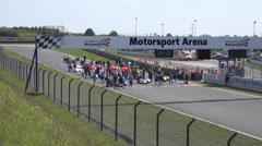 4k Sidecar motorsports public viewing zoom start Stock Footage