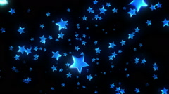 Colorful stars falling and passing by. Blue. 2 videos in 1 file. Loopable. Stock Footage