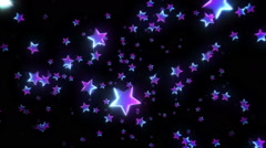 Colorful stars falling and passing by. Purple. 2 videos in 1 file. Loopable. Stock Footage