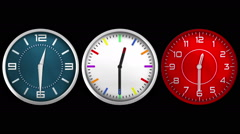 3 Design wall clocks. 12 hours. Choose any hour or minute. Loopable. Alpha Stock Footage