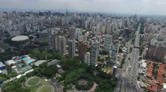 Flying over  de Maio close to Ibirapuera in Sao Paulo, Brazil Stock Footage
