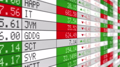 Stock Market Tickers with prices passing by. Loopable. White economy background. Stock Footage