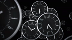 Black clocks flying symbolizing the passing of time. Loopable. Alpha matte. - stock footage