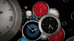 Multicolored clocks flying symbolizing the passing of time. Loopable. Alpha - stock footage