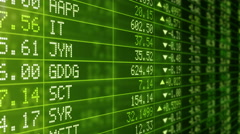Stock Market Tickers with prices passing by. Loopable. Green economy background. - stock footage