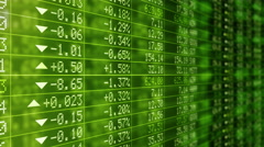 Stock Market Tickers. Green. Zoom out. 3 in 1. Lateral and frontal view. Stock Footage
