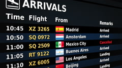 Airport arrival board. Black and Blue. 2 in 1. Lateral view. Loopable. Stock Footage