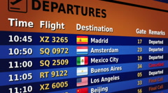 Airport departure board. Orange and blue. 2 in 1. Lateral view. Loopable. Stock Footage
