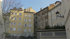View of old and new blocks of flats on a sunny day in Trieste Stock Footage