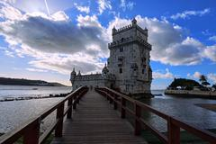 Belem Tower in Lisbon on the river Tagus, Portugal. - stock photo