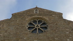 Beautiful view of a  rose window on San Silvester church in Trieste Stock Footage