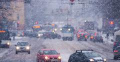 City traffic in winter. Snowfall Stock Footage