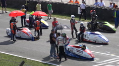 4k Sidecar motorsports drivers before start Stock Footage
