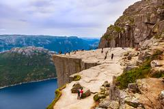 Preachers Pulpit Rock in fjord Lysefjord - Norway - stock photo