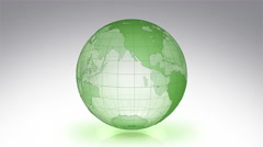 Spinning Earth. White background. Parallels and Meridians. Alpha matte. Green. Stock Footage