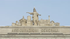 A gull sitting on sculptures of Palazzo del Lloyd in Trieste Stock Footage