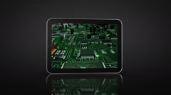 Spinning Tablet animation. 3 in 1. Circuit board video on the screen. Stock Footage