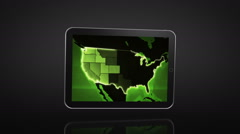 Spinning Tablet animation over black background. US map video on the screen. Stock Footage