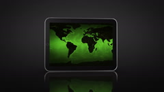 Spinning Tablet animation. Black background. 3 in 1. US map video on the screen. - stock footage
