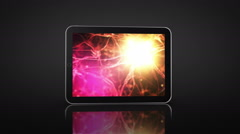 Spinning Tablet Animation. 3 in 1. Neuron cell videos on the display. Stock Footage