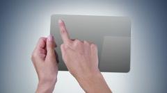 Woman using a digital mini-tablet. Head MRI videos on the screen. Alpha matte. Stock Footage