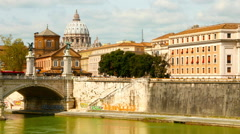 The Ponte Sant'Angelo in Rome Stock Footage