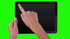Woman using a digital tablet with financial data. Green Screen. Alpha matte. Stock Footage